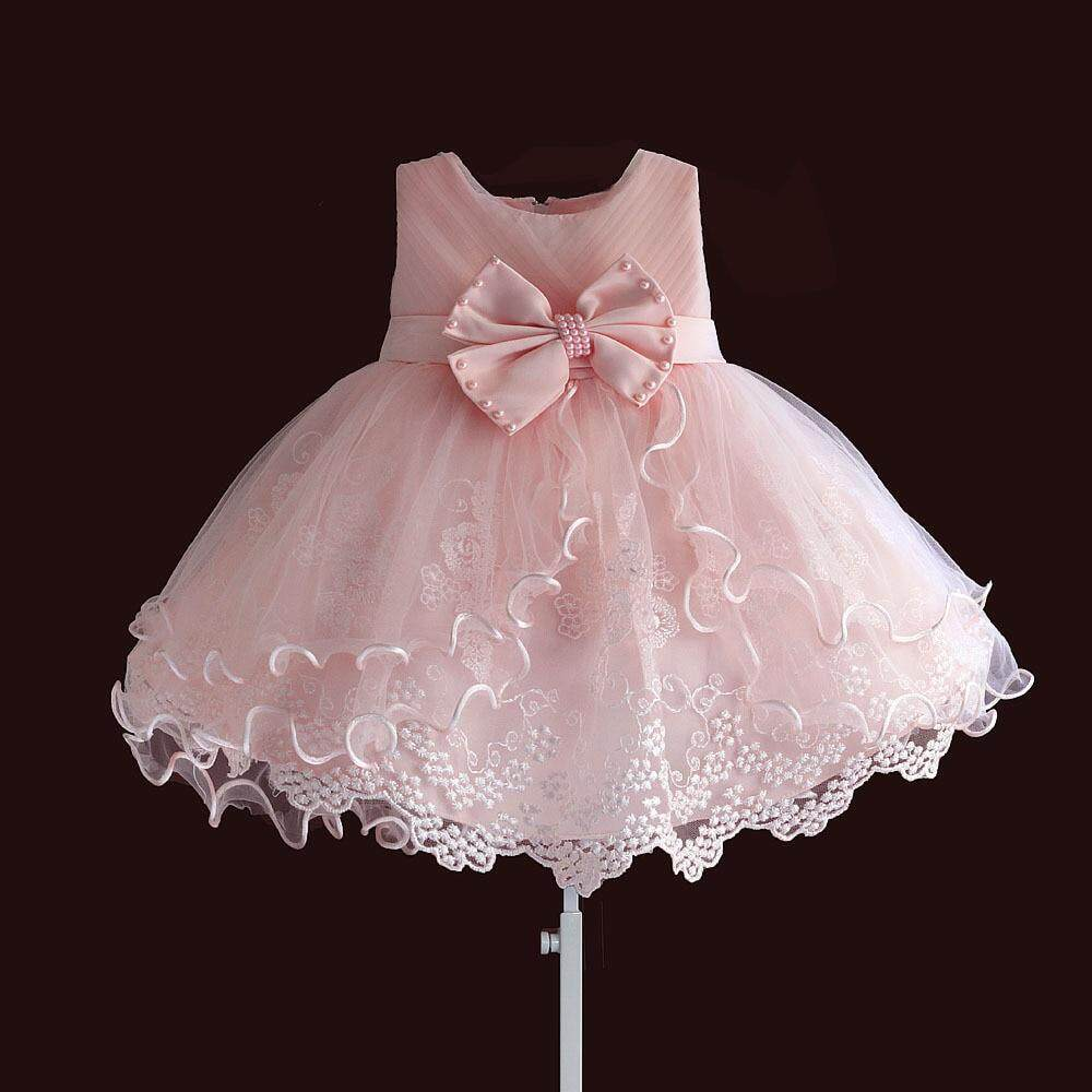 5f21859916164 Birthday Toddler Baby Girls Baptism Dress Christams Costumes Newborn Kids  Princess Christening Dresses with Pearls Bow pink