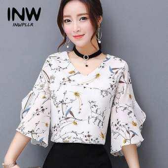 INWPLLR แฟชั่นของผู้หญิงเสื้อดอกไม้พิมพ์ชีฟองเสื้อหญิงฤดูร้อนใหม่เกาหลีสไตล์ V คอแขนสั้นเสื้อผู้หญิง-