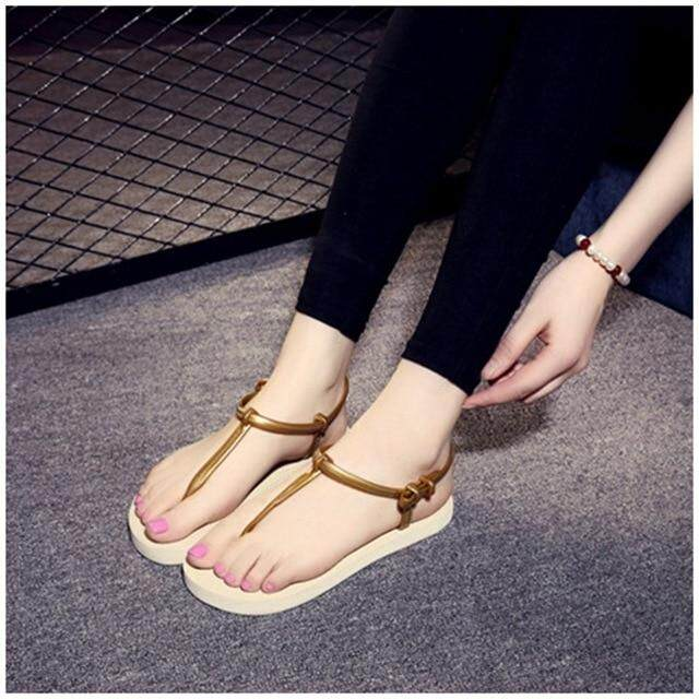 SUOJIALUN Women Sandals 2019 Summer Bohemia Comfortable Ladies Shoes Beach  Gladiator Slides Flip Flop Casual Female e488199ac639