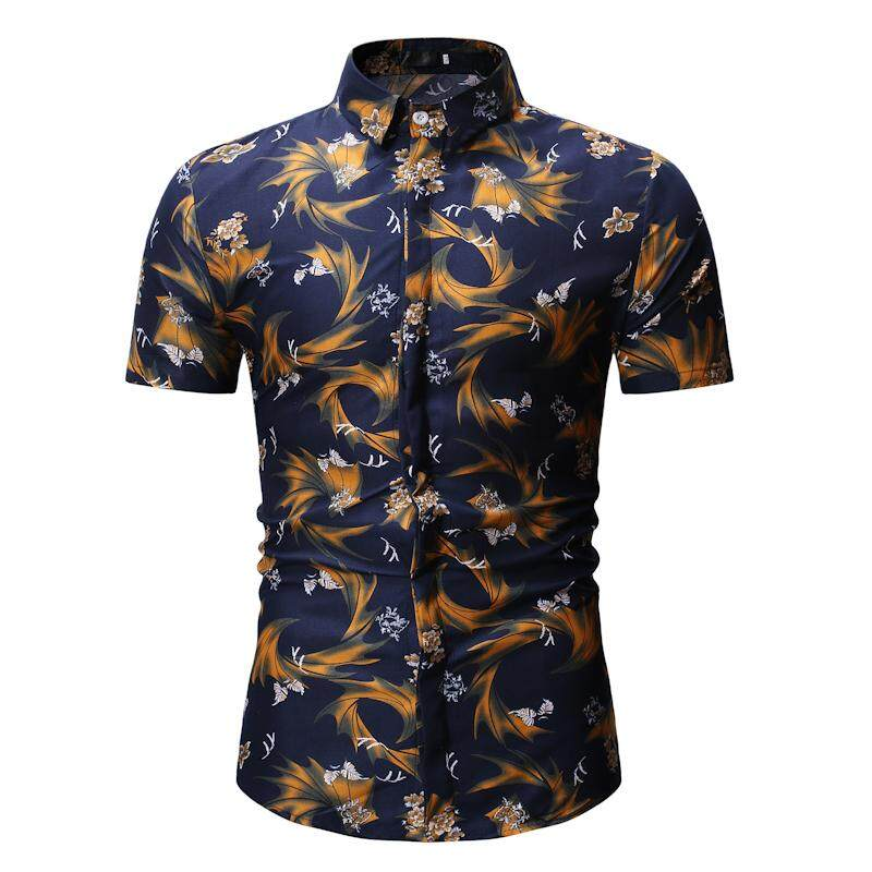 Mens Shirt Casual Short Sleeve Flower Mens Dress Shirts Summer Hawaiian Blouse Men Beach Style New By Lonmmy Official Store.