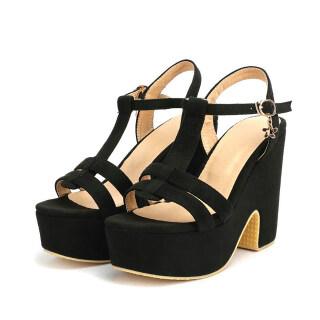 Womens Platform Chunky Heeled Sandals T-Strap Velvet Dress Sandals with Buckle thumbnail