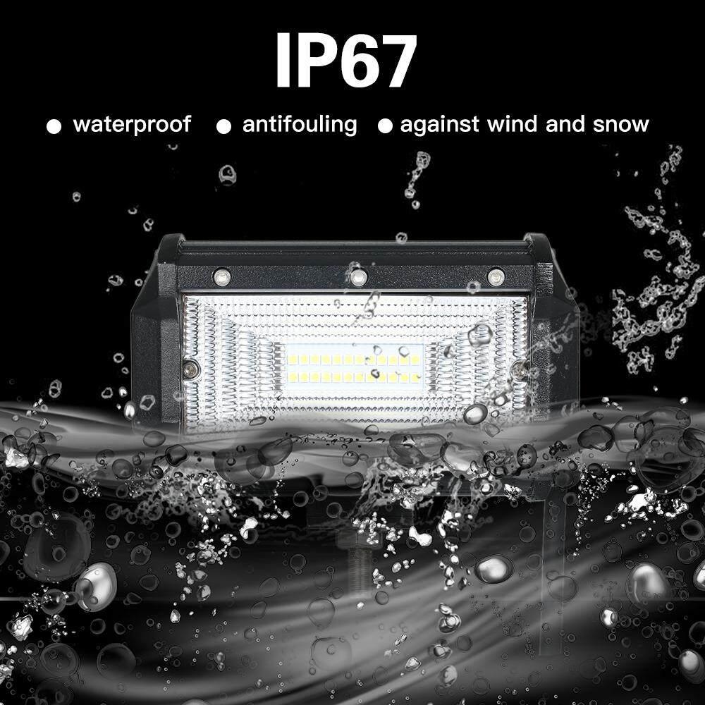 2 Pcs 72 W Mobil Batang Lampu Kerja 6000 K Lampu untuk Jip Offroad SUV Perahu Kekuatan Tinggi L-ED Lampu Mengemudi Tahan Air titik Sorotan Tipe 1 HITAM