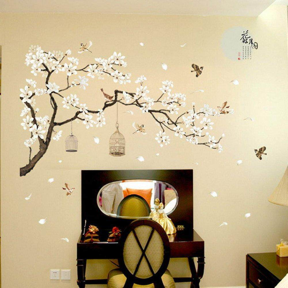 187*128cm Big Size Tree Wall Stickers Birds Flower Home Decor Wallpapers for DIY Vinyl Rooms Decoration