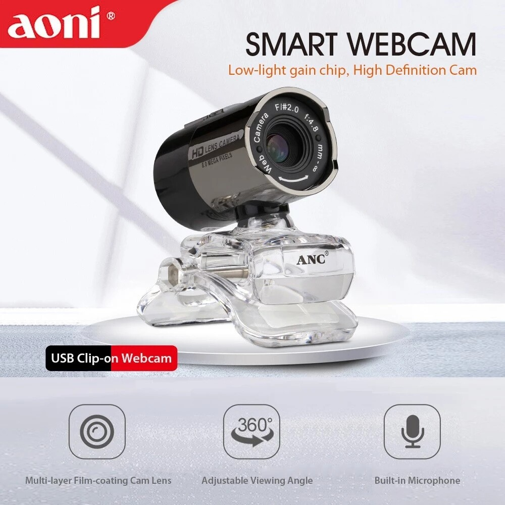 Aoni เว็บแคม Hd พร้อมไมโครโฟนกล้องความละเอียดสูงเว็บแคม Night Vision Usb Mic Clip-On สำหรับแล็ปท็อปคอมพิวเตอร์ตั้งโต๊ะออนไลน์หลักสูตรการศึกษาการประชุมทางวิดีโอสด.