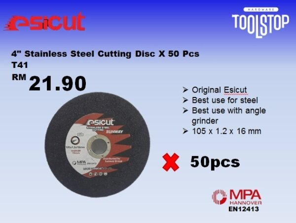 Esicut 4 inch Stainless Steel Cutting Disc x 50pcs
