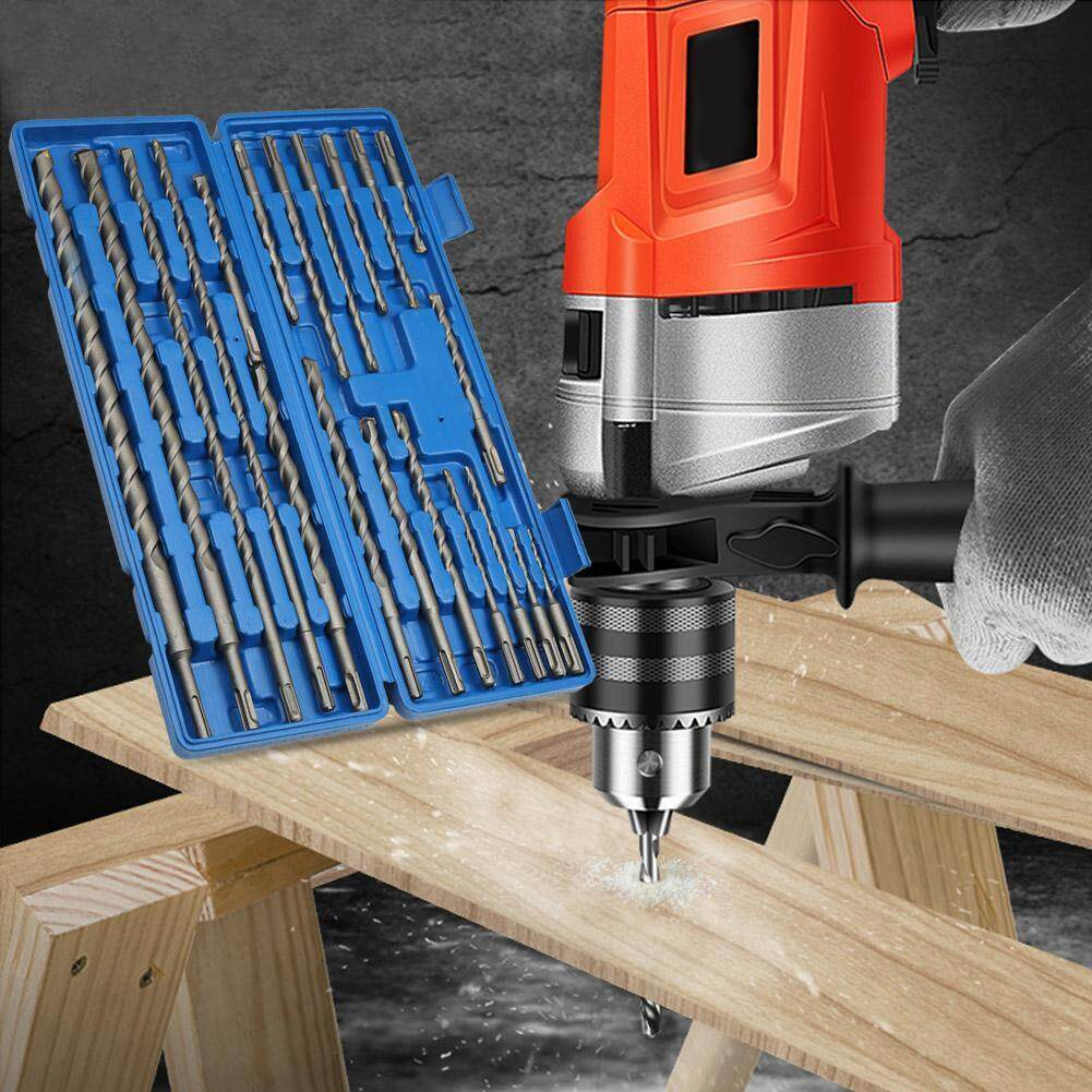 (Qianmei+Ready Stock)20pcs 1 Box Rotary Electric Hammer Drill Bit Set Grooving Tools Concrete Drilling Bit