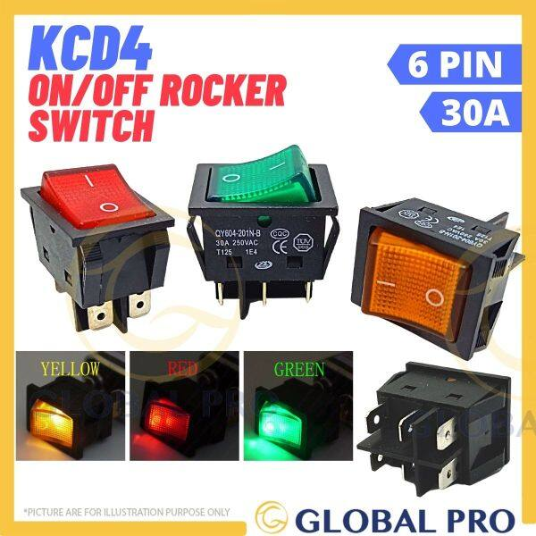 {1PC} KCD4 201N-B 30A 6Pin 250V ON/OFF Boat Rocker Switch/Seasaw Switch with LED for machines