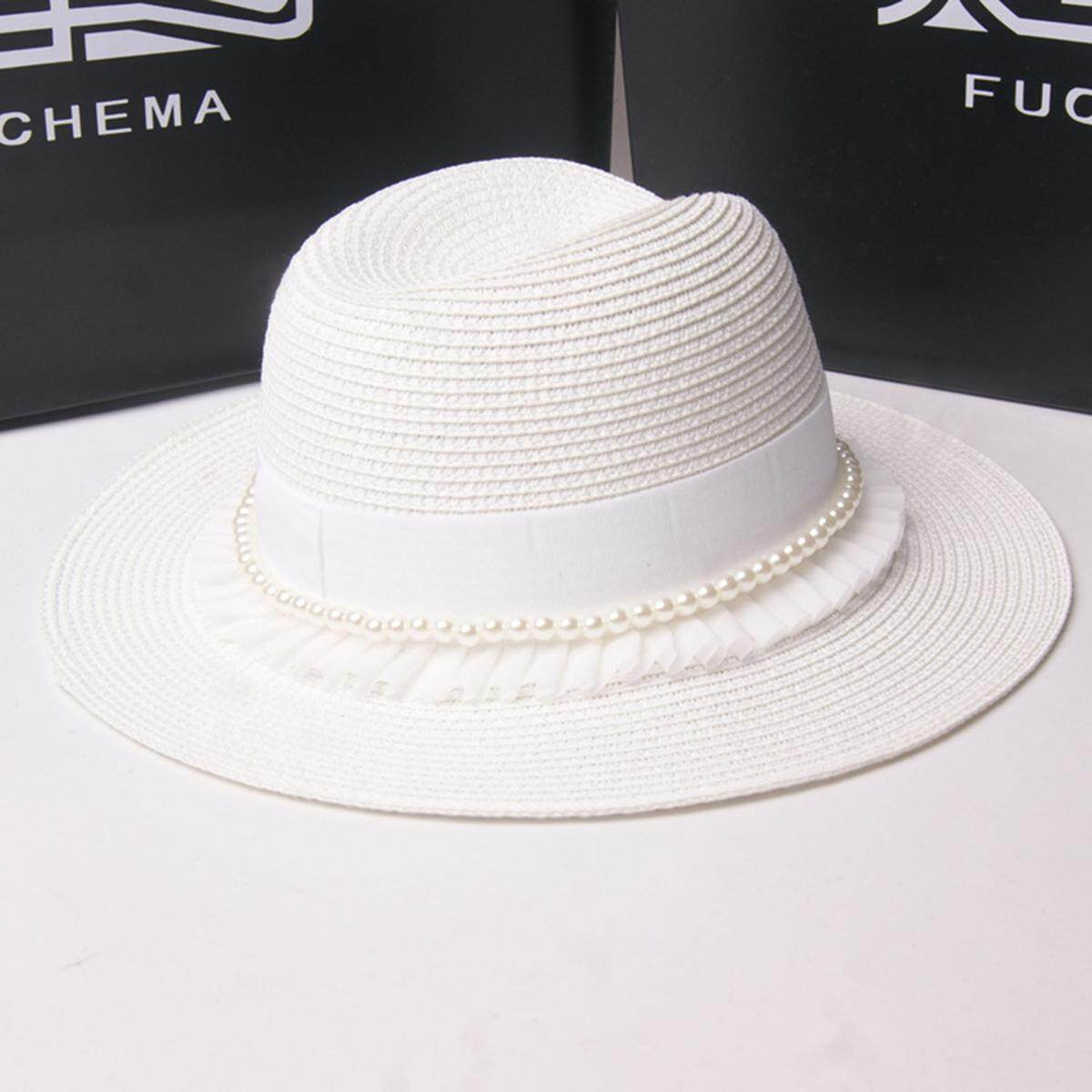 f1f2a7a08754f 37302 items found in Hats   Caps. Stylish Summer Casual Pearls Lace Hat For  Women Straw Wide Brim Sun Hat For Beach Vacation