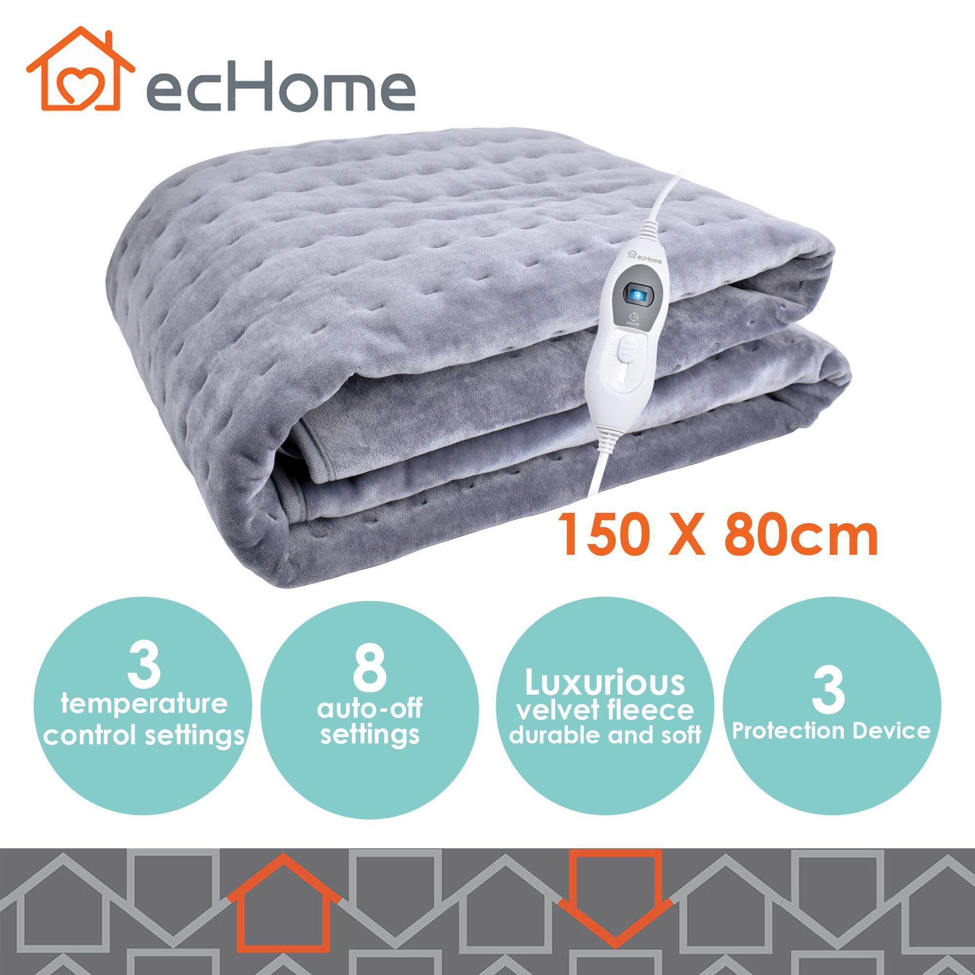 Echome Washable Velvet Flannel Fleece Heated Electric Blanket 150x80cm W/ Timer By Echome.