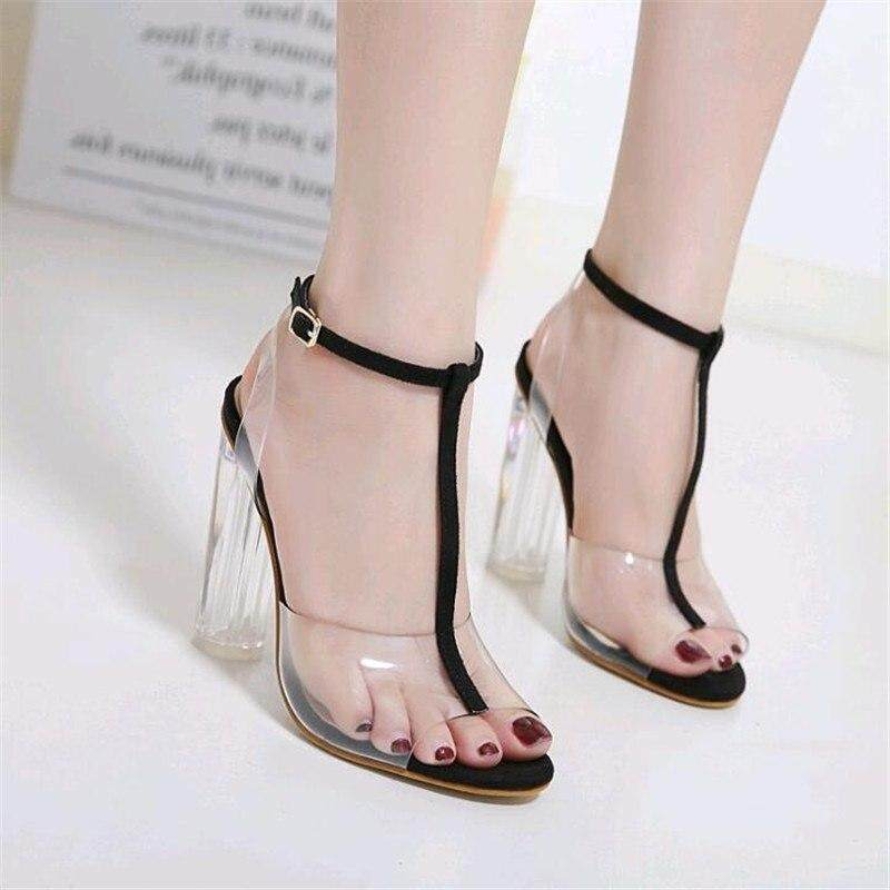 9be373f6cdef Fashion 2019 Women Gladiator Sandals Ladies Pumps High Heels Shoes Woman  Clear Transparent T-strap
