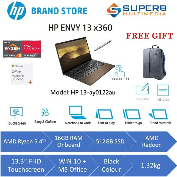 Hp Envy X360 13-Ay0122Au Laptop [Wood Edition] [AMD Ryzen5 , 512GB SSD , 16GB On-Board , Windows 10 , 13.3 FHD with HP Sure View [1000 nits] , Finger Print Reader , Preload Microsoft Home & Student Malaysia