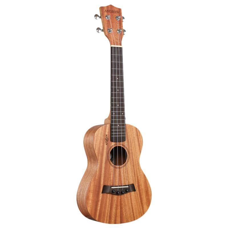Andrew Ukulele Concert Ukulele 23 Inch 4 Strings Head Guitar Hawaiian Mahogany Wood Uke Stringed Instrument