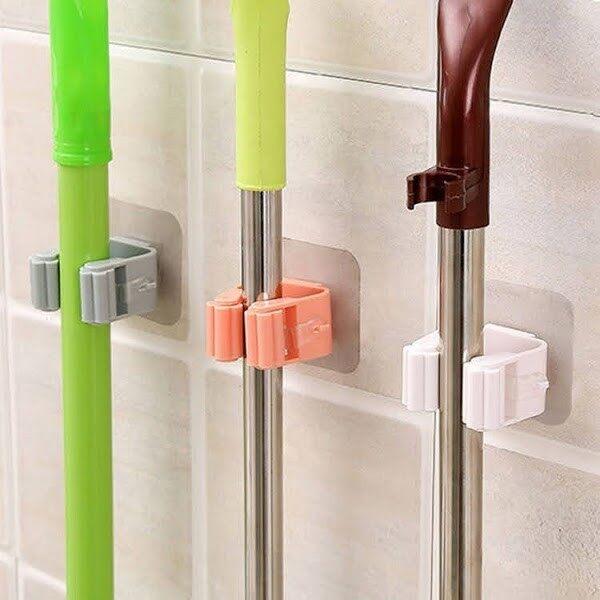 (Ready Stock) Bathroom Mop Hook Brush Broom Hanger Storage Rack Umbrella Stand Storage Rack (No drilling needed)
