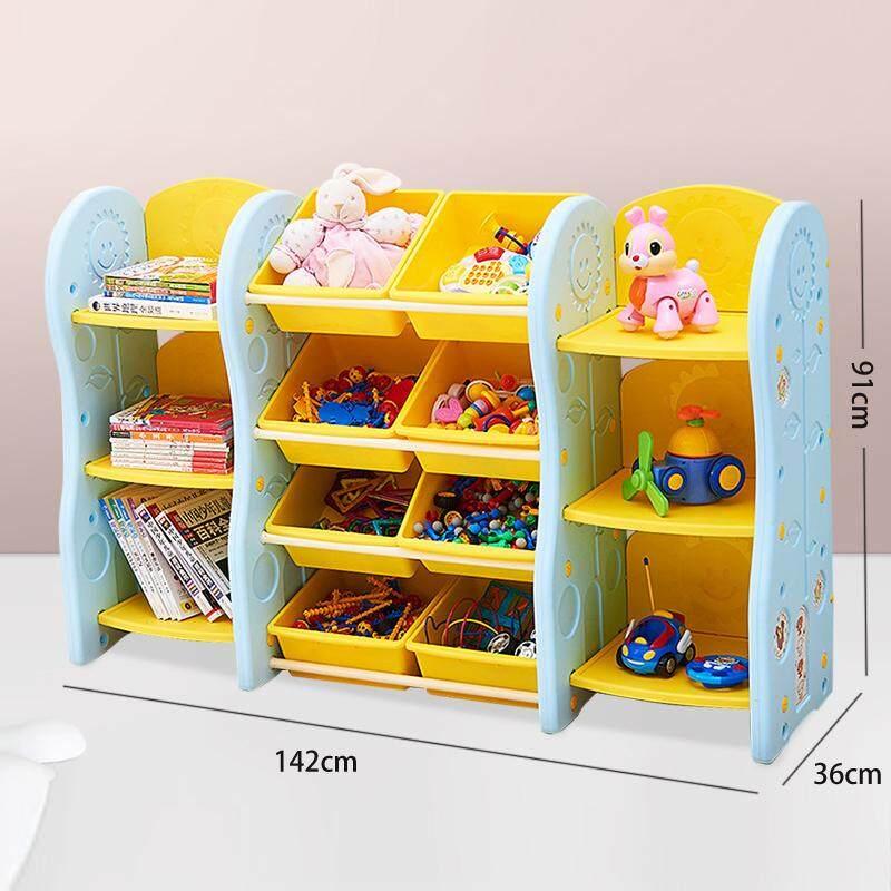 Kids Toy Organizer, Book Racks Bookshelf, Childrens Toys Mini Multi-Function Plastic Box, 6 Shelves And 8 Bins In Fun Colors, Toy Storage Rack By Ruyiyu902 Furniture.