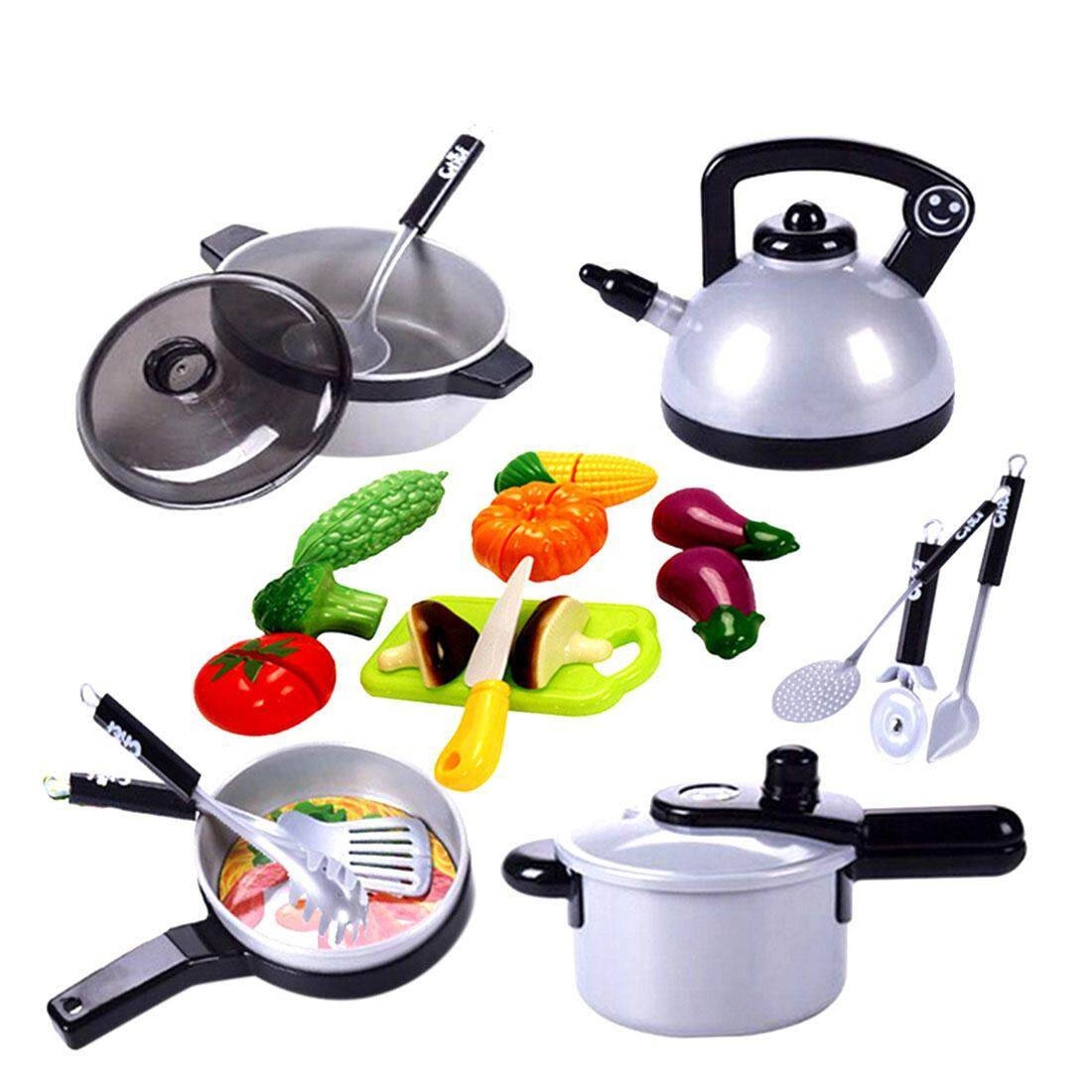 Classic Cooking Toys For Children Pretend Play Cutting Food Vegetable Set Kids Kitchen Educational Toy Play House Toys Best Gift 19pcs By Dragonlee.