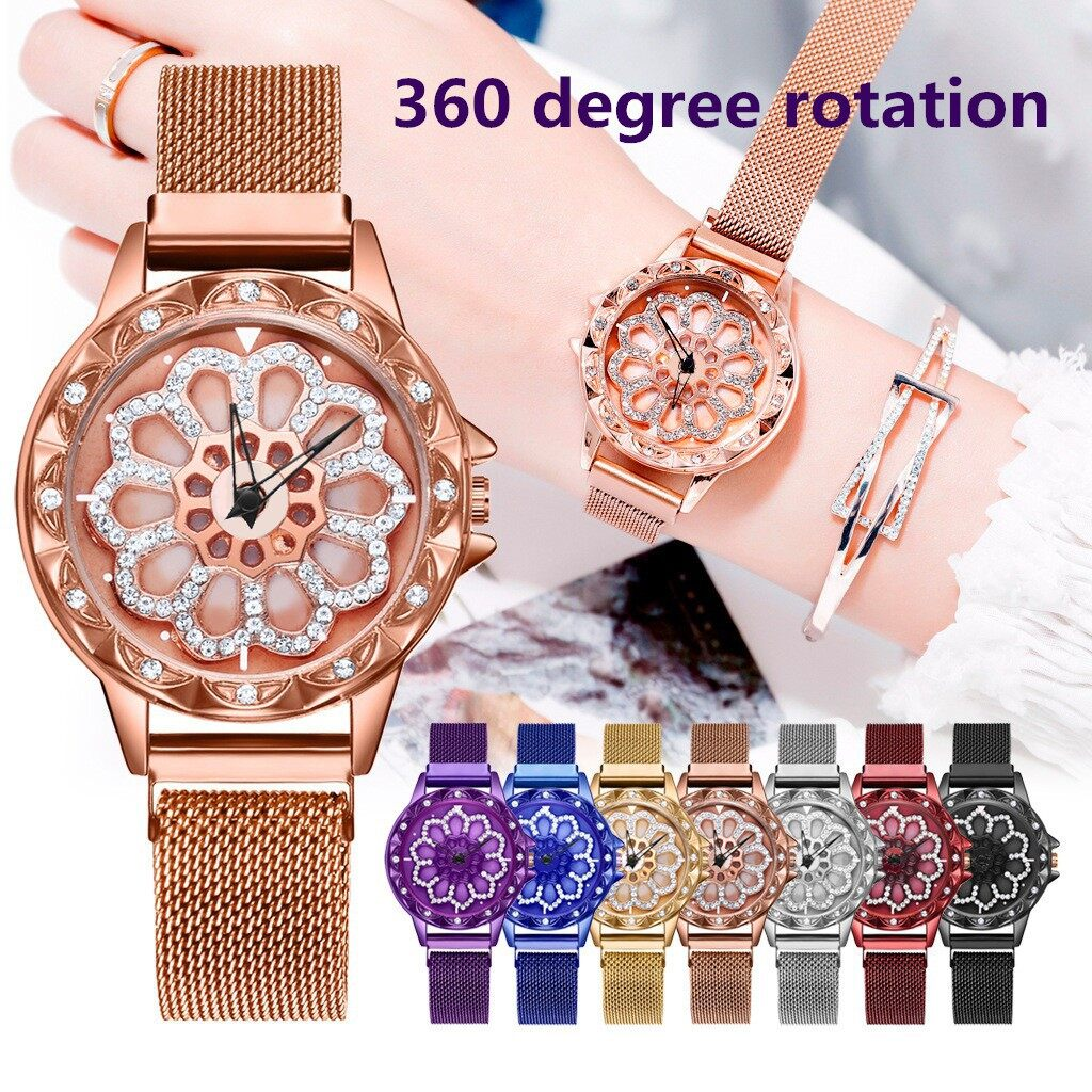 【Ready Stock】Women Magnetic Spinning Buckle 360° Rotating Dial Lucky Flower Watch Malaysia