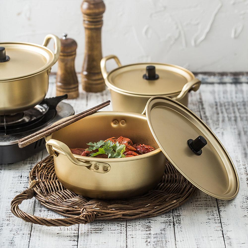 12 12 황냄비 Korean Ramen Noodles Pot Aluminum Soup Pot Yellow Double Ears Soup Pot Student Dormitory Instant Noodles Small Pot Cooking Pot Kitchenware Heating For Cookware 16cm 18cm 20cm Lazada Singapore