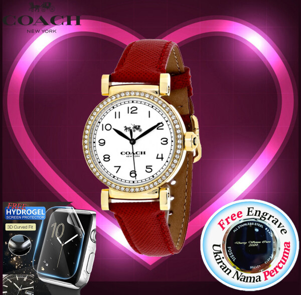 [FREE ENGRAVE]Original Coach Womens Madison Rose Gold Red Leather Watch 14502400 with 2 Years Warranty Malaysia
