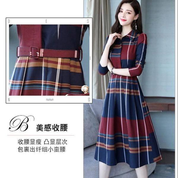 Đầm nữ kẻ sọc kiểu dáng xuân thu, đầm nữ công sở tay dài cổ áo kiêu sơ mi phong cách Hàn Quốc - INTL