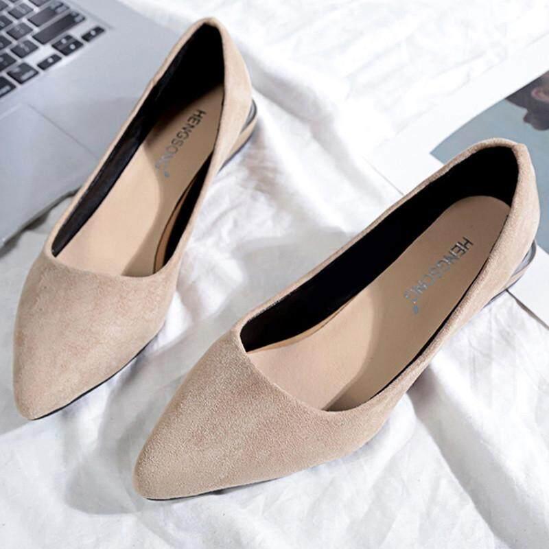 Lazada Giảm Giá Khi Mua Wilk65555 Thời Trang Nữ Mũi Nhọn Dẹt Ba Lê Nông Giày Slip On Giày Thường