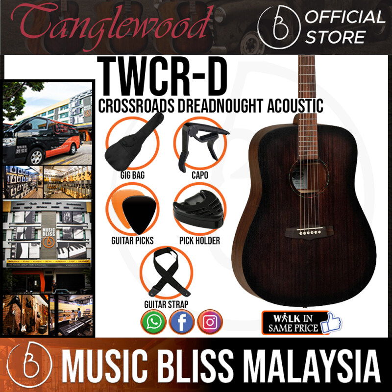 Tanglewood TWCR D Crossroads Dreadnought Acoustic Guitar, Whiskey Burst (TWCR-D) Malaysia