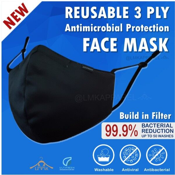 🔥𝗦𝗔𝗟𝗘❗❗【READY⚡STOCK🇲🇾】NEW Ultifresh (Build in Washable Filter)3ply Reusable♻Washable┃Antiviral┃Antibacterial Face Mask