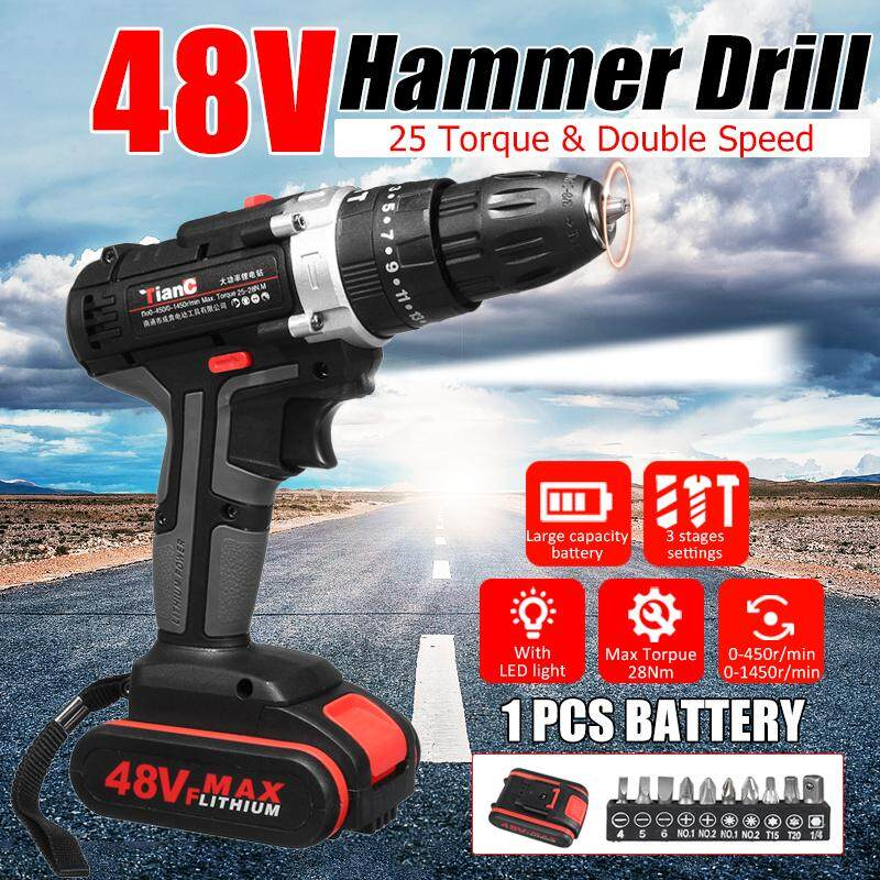 【Hot Sale】48V Electric Drill Hammer Rechargeable Cordless Drill Woodworking 1/2 Battery