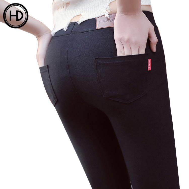 HEDA Black high-waist tight-fitting pencil pants with underpants outer wear leggings ladies slim elastic feet trousers