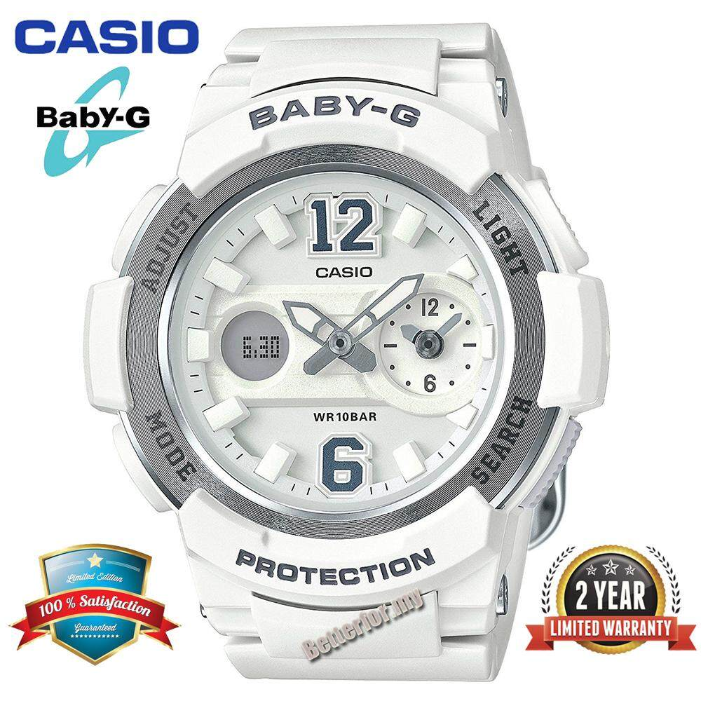 (Ready Stock) Original Casio Baby G_BGA-210-7B4 Women Sport Digital Watch Duo W/Time 100M Water Resistant Shockproof and Waterproof World Time LED Light Girl Wist Sports Watches with 2 Year Warranty BGA210/BGA-210 White Silver Malaysia