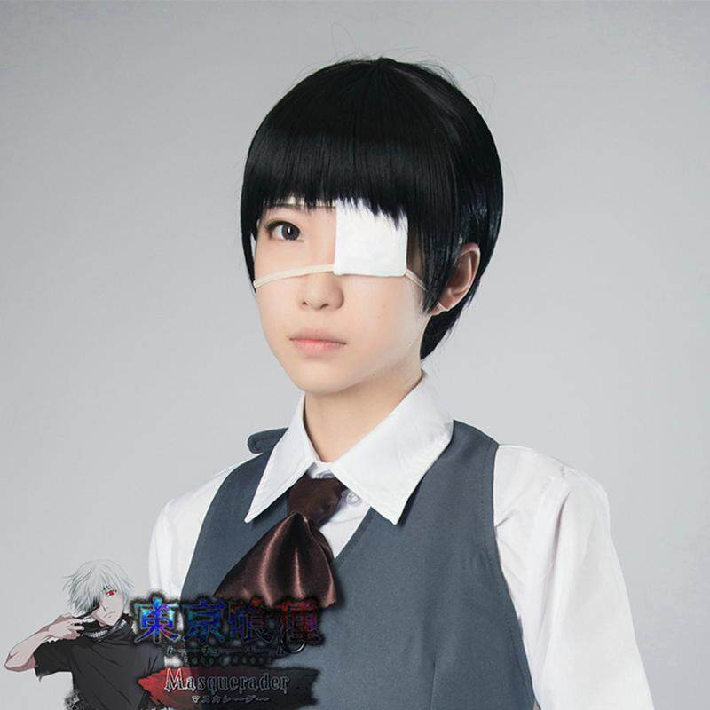 Anime Tokyo Ghoul Ken Kaneki Black White Mask with Eye Patch Cosplay Props Gift