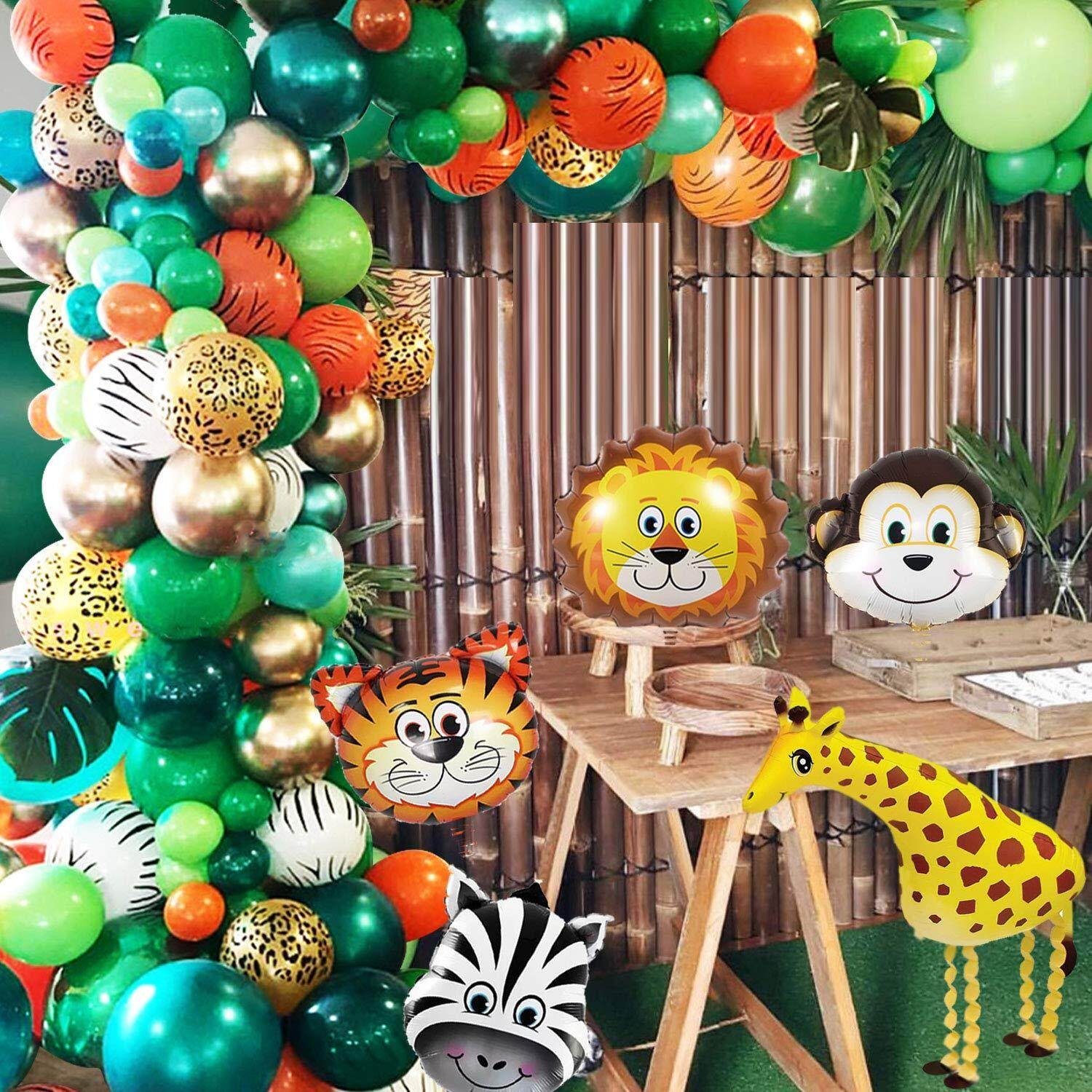 Jungle Safari Theme Party Balloon 151 Pack With Animal Balloons And Palm Leaves For Kids Birthday Party Baby Shower Decorations
