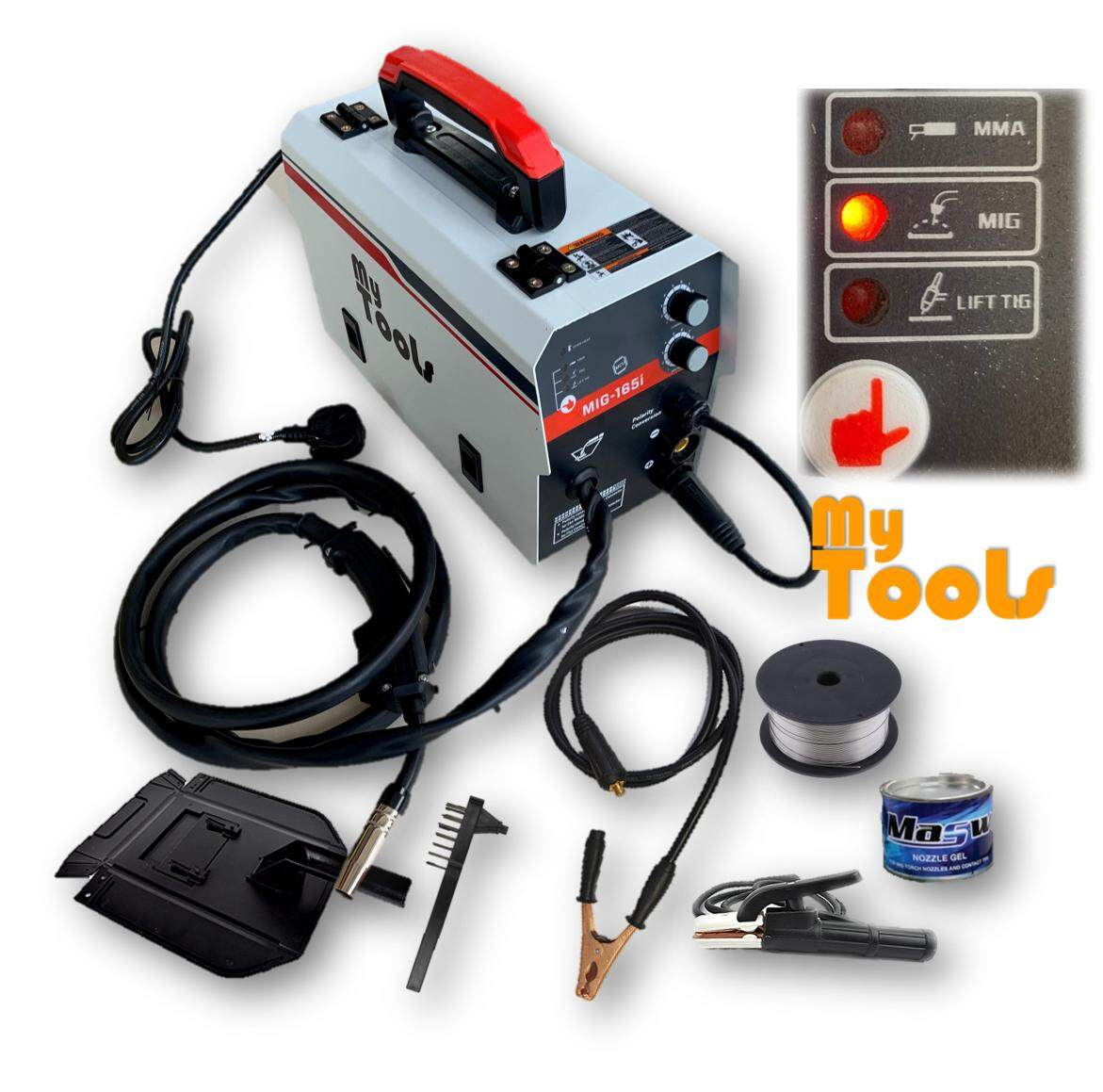 Mytools MIG165 Gas-Less MIG , MIG , TIG, ARC, Aluminium, Stainless Steel 6 In 1 Welding Machine Set (Made In Malaysia)