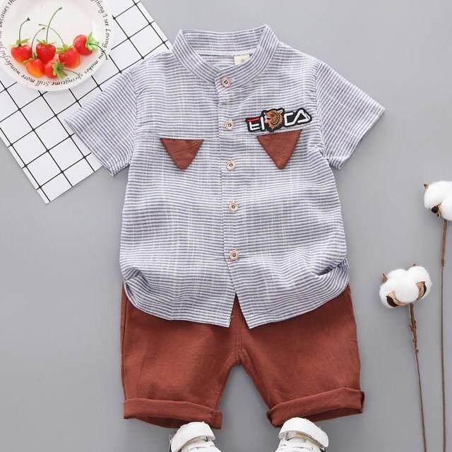 181a35462d3a Summer Baby Boys Short Sleeve Striped Print Tops Blouse T-shirt+Shorts  Children Casual