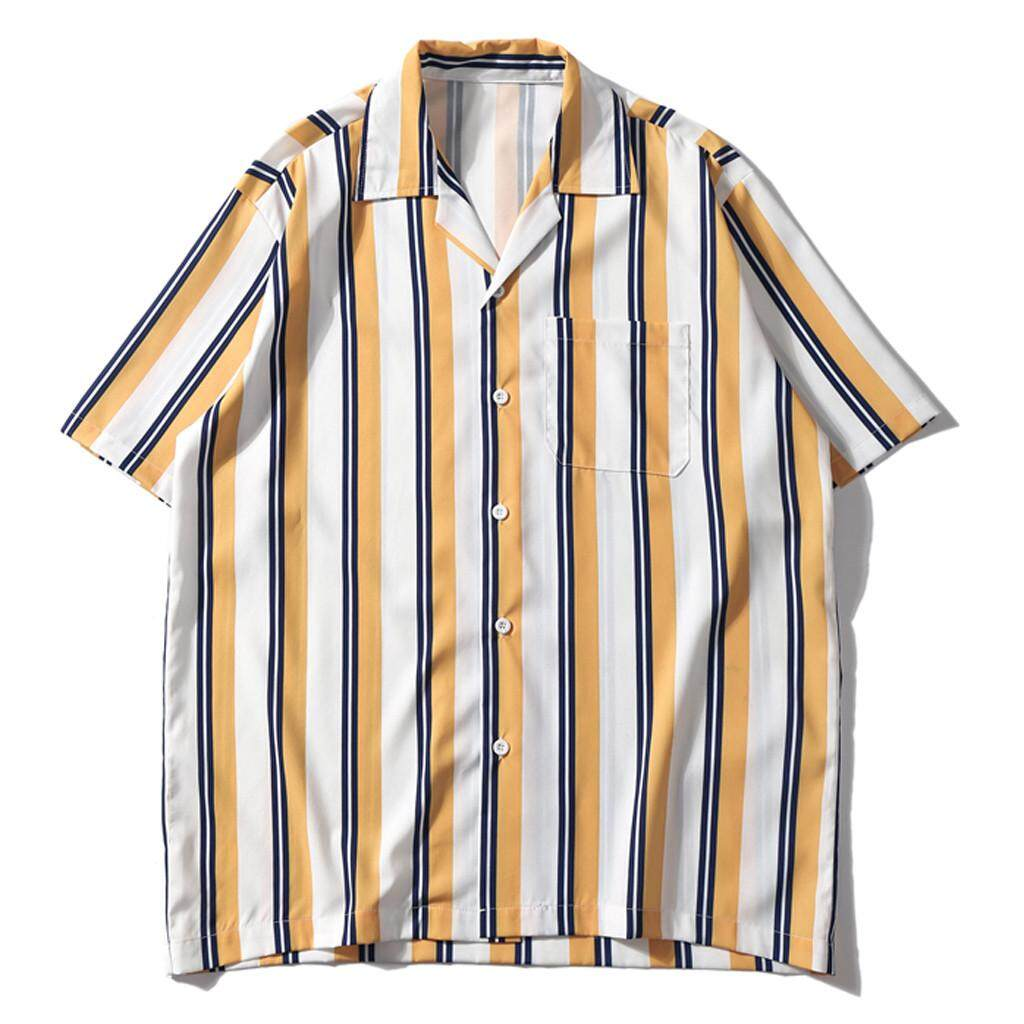 ba28a9d1cc9 Mobilone-Mens Summer Fashion Shirts Casual Short Sleeve Striped Tops Loose  Casual Blouse