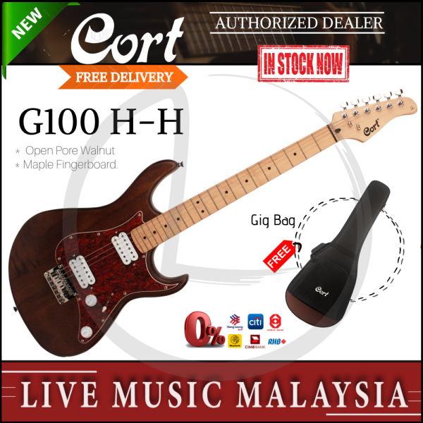 Cort G100 HH Electric Guitar with Gig Bag - Open Pore Walnut (G-100/HH G 100) Malaysia