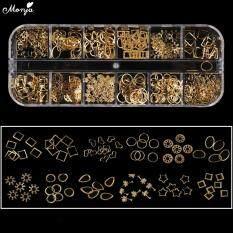 12 Lưới Hỗn Hợp Phong Cách Nail Art Shell Sao Trăng Oval Thiết Kế Kim Loại Đinh Tán Studs Chain Khung 3D DIY Charm Trang Trí Phụ Kiện