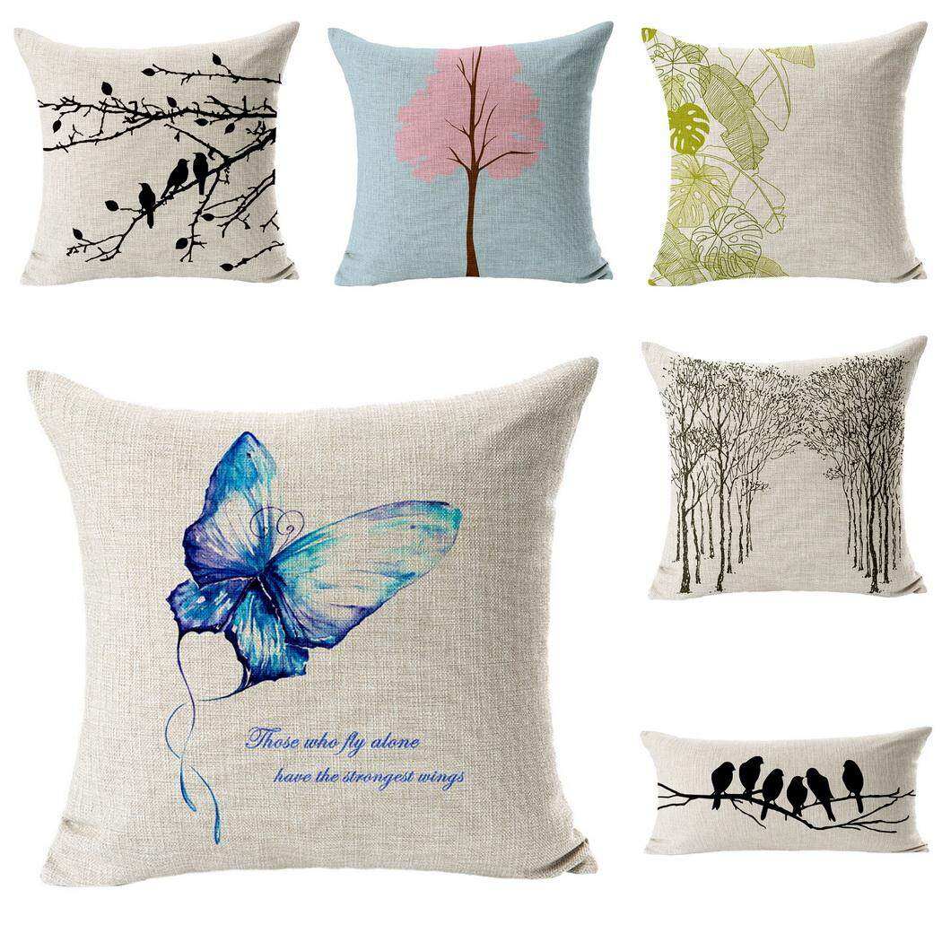 Bigood Pack of 6 Tree Bird Cushion Cover Cotton Linen 18x18 Decors Pillowcases Sofa Pillow Cover