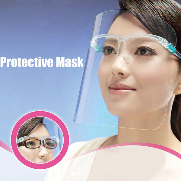 Plastic Full Face Shield Cover Anti Oil Spitting Protective Isolation Mask PET Tranparent Dustproof Facial Protection Visor solation Glasses  Protective