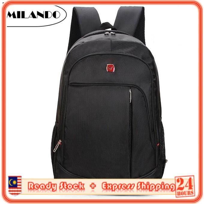 f01956973a92 MILANDO Trendy Stylist Laptop Notebook Backpack Travel School Bag Black  Series Beg Bags