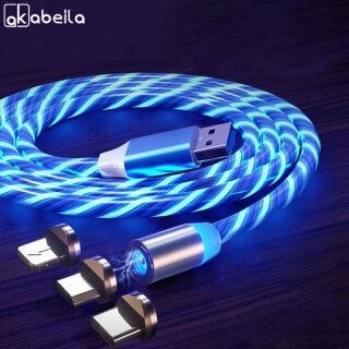 AKABEILA Glow LED Chiếu Sáng Sạc Nhanh Từ USB Loại C Cable Magnetic Cable USB Micro Charger Cable Dây Cho iPhone Huawei Samsung thumbnail