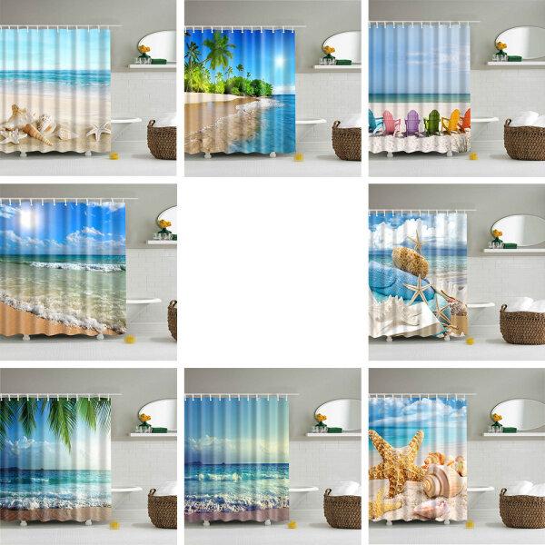 Rèm Tắm In Phong Cảnh Bãi Biển Biển Hiện Đại 180X90Cm, Rèm Nhà Tắm Màn 3D Màu Xanh Dương, Lớn Cho Rèm Phòng Tắm