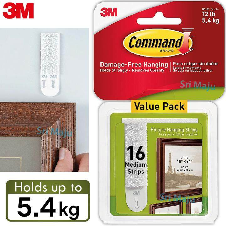 3m Command 17204 5.4kg 16 Strips Value Pack Medium Picture Hanging Frame By Sri Maju Hardware.
