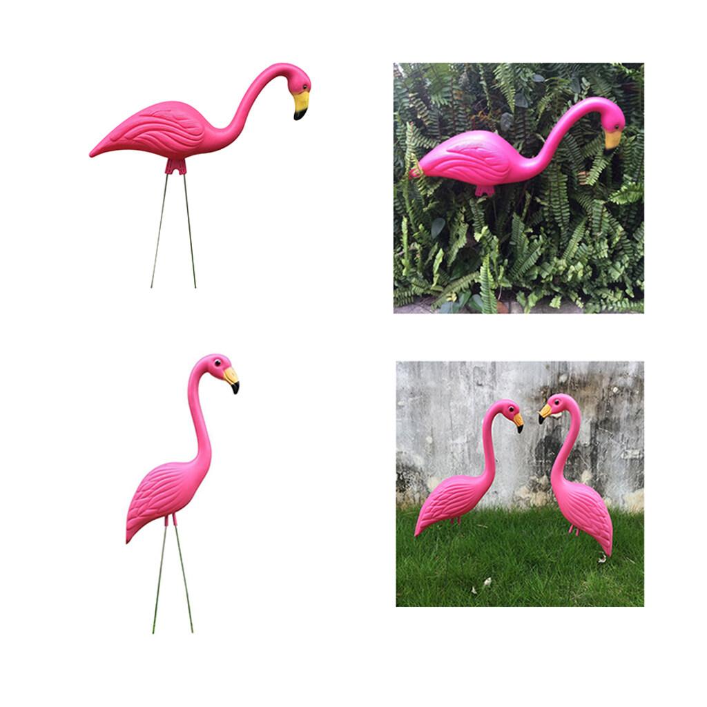 Perfk 1 Pair Lifelike Pink Flamingo Yard Garden Lawn Art Ornament Decor Statues