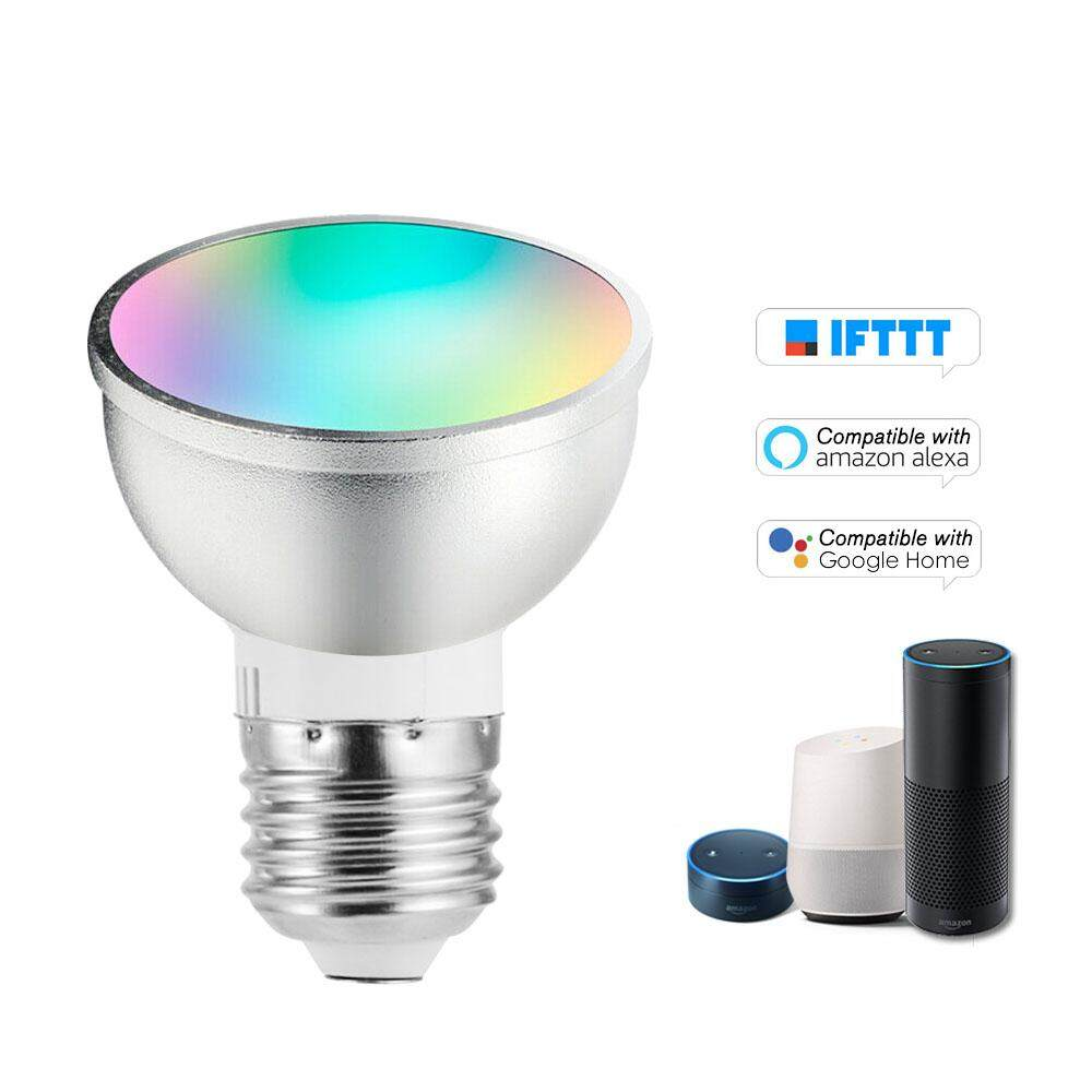 V18 Smart WIFI LE-D Bulb RGB+W LE-D Bulb 6W E27 Dimmable Light Phone Remote Control Compatible with Alexa Goog-le Home Tmall Genie Voice Control Light Bulb