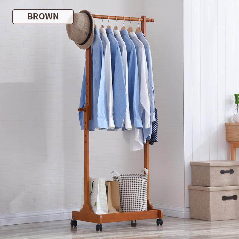 Solid wood clothes and hats rack creative mobile floor clothes rack bedroom hanger clothes rack porch shelf