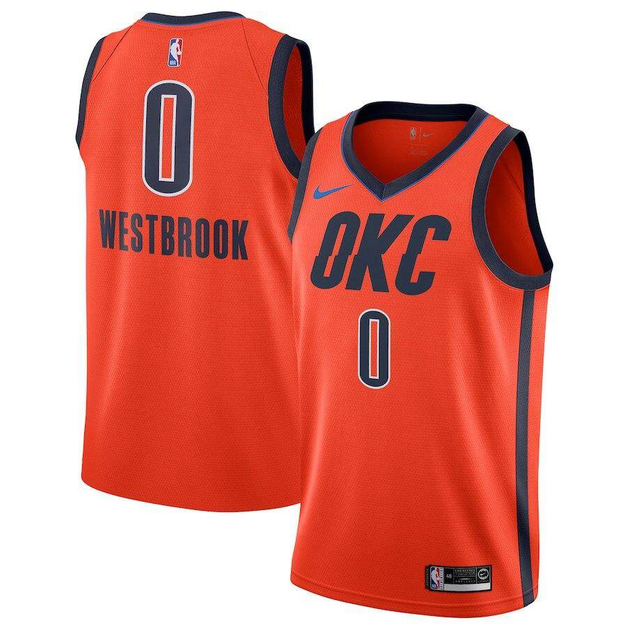 info for 0357a f5cc3 NBA Russell Westbrook NBA Oklahoma City Thunder Num 0 Swingman Jersey For  Male Basketball Clothes Amrican Team Color Size small Orange Earned Edition