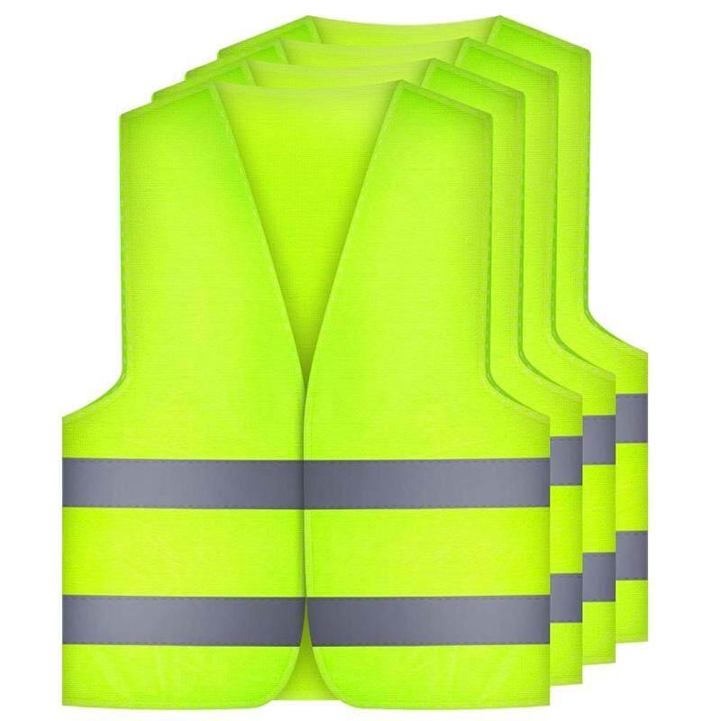 4 Pcs. Safety Vests Car Puncture Vest Safety Vest, Safety Warning Vest En 471 with 360 Degree Reflective Stripes and Buckle, Standard Sizes
