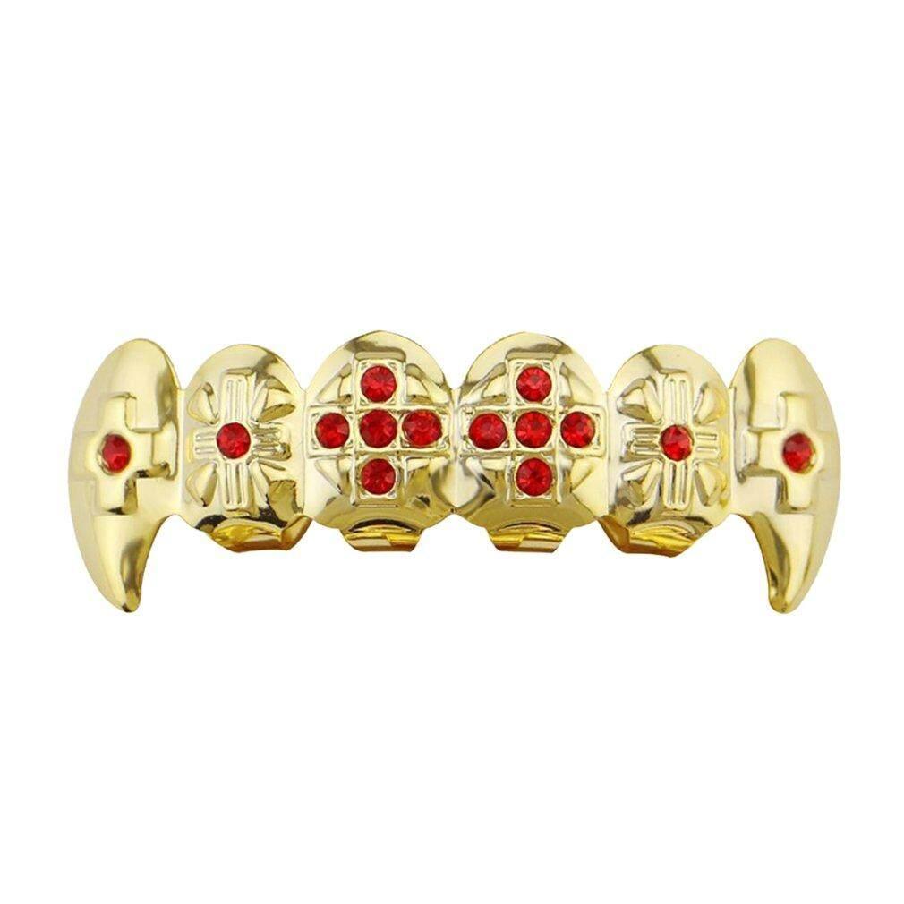 Allwin สีทองสีฮิปฮอปฟันด้านบนและเลี่ยมทองด้านล่างฟันโลหะฟัน By Allwin2015.