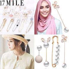 17 MILE Korea Mutiara Kristal , Bros Wanita Pin Bunga Surat Bros, Thời Trang Nữ Hoàng Aksesoris Jilbab