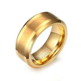 แหวนแร่ทังสเตนทังสเตนสีทองสำหรับผู้ชายเครื่องประดับ8มม.แหวนแต่งงานผู้ชาย
